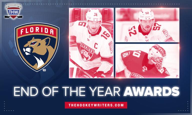 End of Year Awards Florida Panthers Aleksander Barkov, MacKenzie Weegar, and Chris Dreidger
