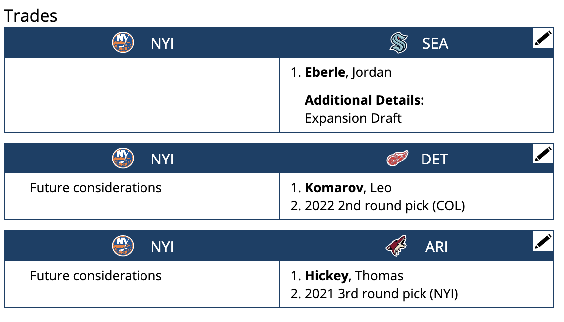 The New York Islanders trade tree after a possible Brandon Saad/Tomas Tatar signing.