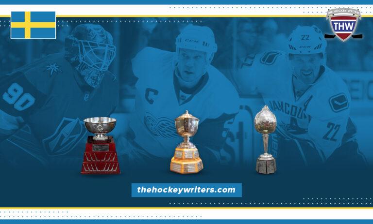 Sweden award winners Lidstrom Norris Trophy, Henrik Sedin Hart, and Robin Lehner William M. Jennings trophy
