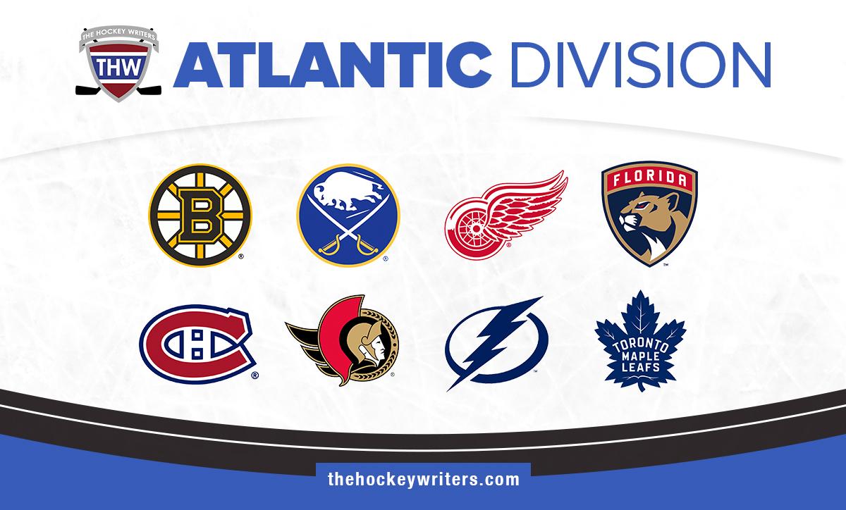 NHL Atlantic Division Boston Bruins Buffalo Sabres Detroit Red Wings Florida Panthers Montreal Canadiens Ottawa Senators Tampa Bay Lightning Toronto Maple Leafs