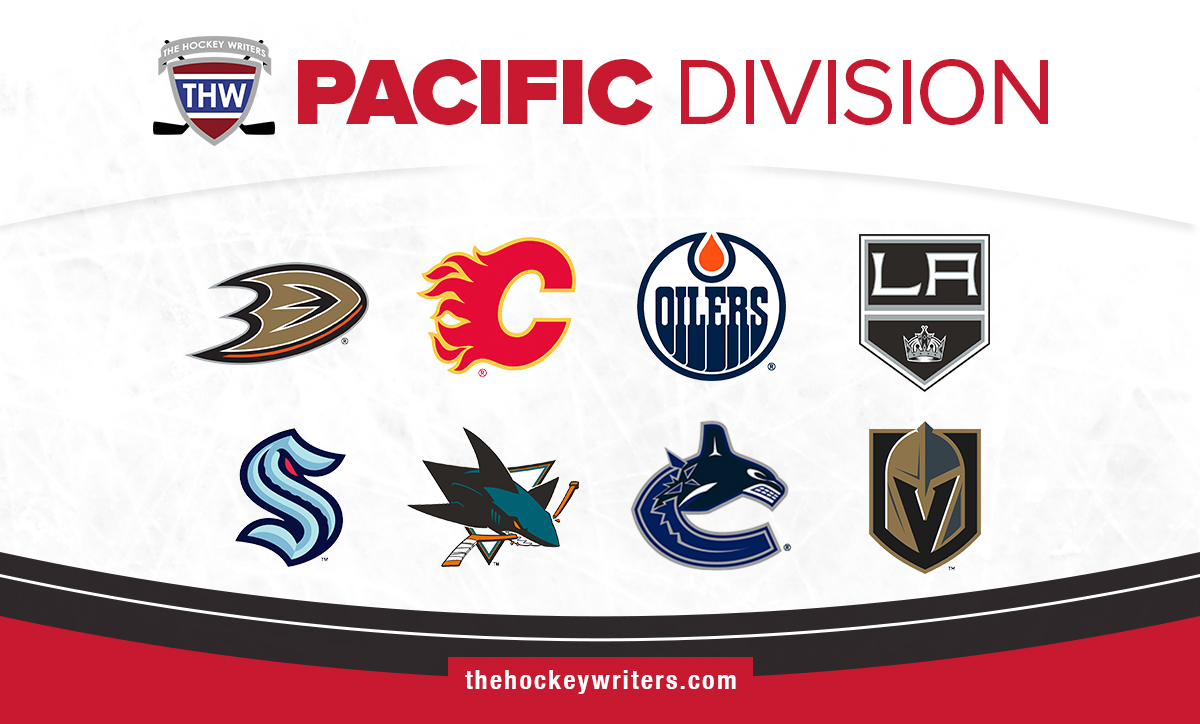 NHL Pacific Division Anaheim Ducks Calgary Flames Edmonton Oilers Los Angeles Kings Seattle Kraken San Jose Sharks Vancouver Canucks Vegas Golden Knights
