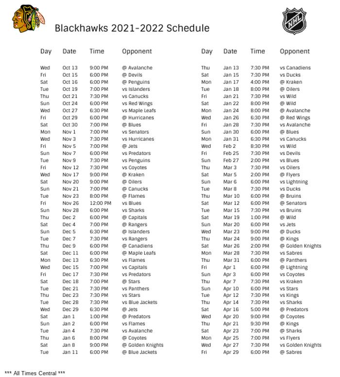 Chicago Blackhawks 2021-22 Season Schedule