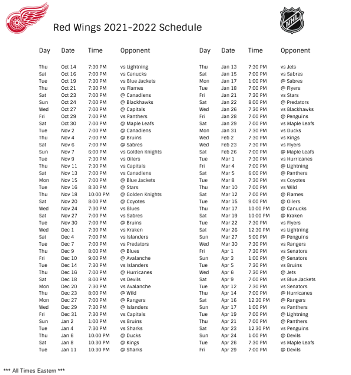 Detroit Red Wings 2021-22 Season Schedule