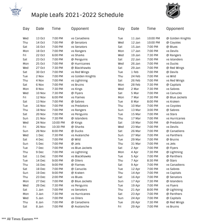 Toronto Maple Leafs 2021-22 Season Schedule