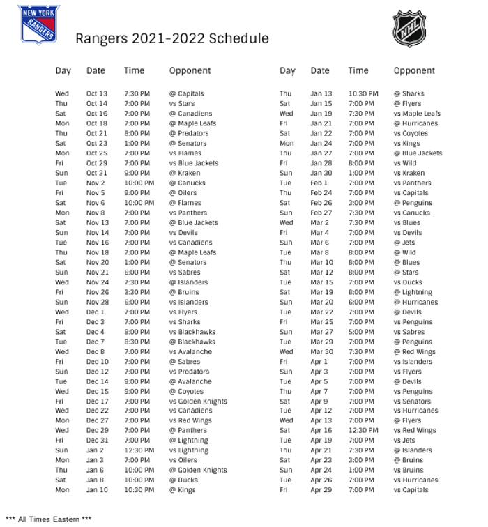 New York Rangers 2021-22 Season Schedule