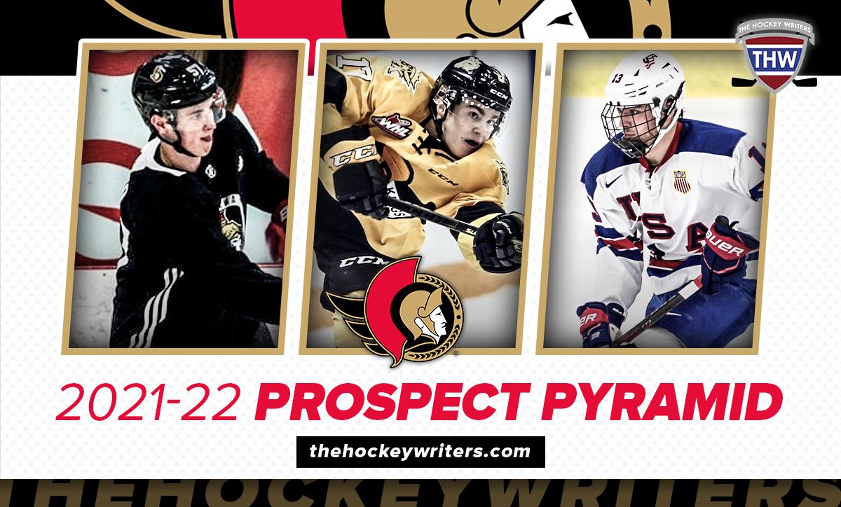 Ottawa Senators 2021-22 Prospect Pyramid Shane Pinto, Tyler Boucher, and Ridly Greig