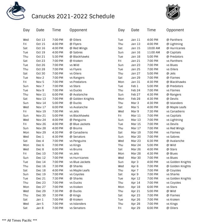 Vancouver Canucks 2021-22 Season Schedule